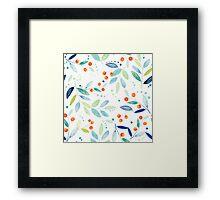 Pastel Watercolors Botanical leafs & Berries Seamless Pattern Framed Print