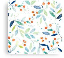 Pastel Watercolors Botanical leafs & Berries Seamless Pattern Canvas Print