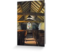 Church of St Olaf, Wasdale head. Interior. Greeting Card
