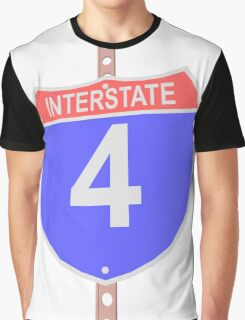Interstate highway 4 road sign Graphic T-Shirt