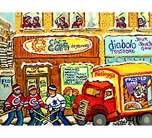 MONTREAL BREAKFAST RESTAURANT WITH DELIVERY TRUCK ORIGINAL PAINTING FOR SALE Photographic Print