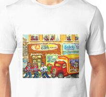MONTREAL BREAKFAST RESTAURANT WITH DELIVERY TRUCK ORIGINAL PAINTING FOR SALE Unisex T-Shirt