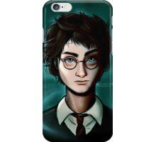 Blue eyes, black glasses. iPhone Case/Skin