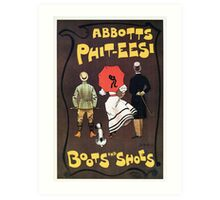 Victorian British shoes and boots advert by Dudley Hardy Art Print