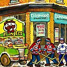 NEIGHBORHOOD SANDWICH  RESTAURANT MONTREAL WINTER HOCKEY ART ORIGINAL PAINTING by Carole  Spandau
