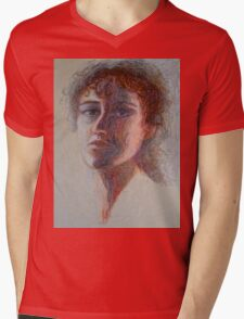 Two Faces - Portrait Of A Woman - Outsider Art Mens V-Neck T-Shirt