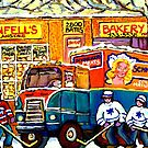 THE NEIGHBORHOOD KOSHER BAKERY SHOP MONTREAL HOCKEY ART MONTREAL PAINTINGS ORIGINAL ART by Carole  Spandau
