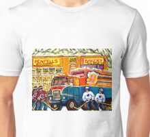 THE NEIGHBORHOOD KOSHER BAKERY SHOP MONTREAL HOCKEY ART MONTREAL PAINTINGS ORIGINAL ART Unisex T-Shirt