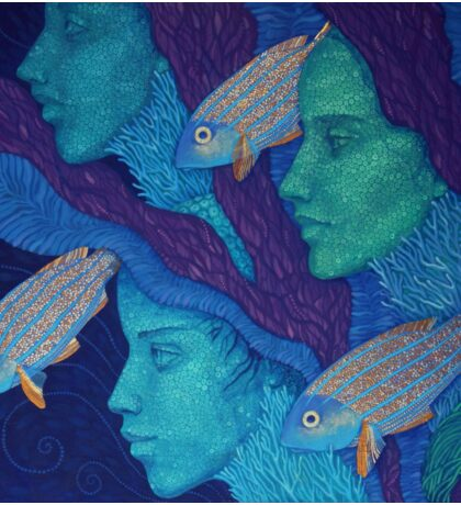 """The Waiting"", girls & fish, surrreal art, underwater art, acrylic painting, blue shades Sticker"