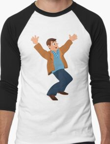 Cartoon man in blue sweater and brown jacket holding happily hands up Men's Baseball ¾ T-Shirt
