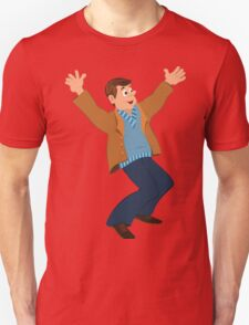 Cartoon man in blue sweater and brown jacket holding happily hands up T-Shirt