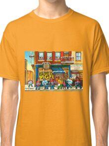 MONTREAL BAGEL SHOP ON ST. VIATEUR STREET CANADIAN PAINTINGS HOCKEY ART SCENES Classic T-Shirt