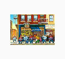 MONTREAL BAGEL SHOP ON ST. VIATEUR STREET CANADIAN PAINTINGS HOCKEY ART SCENES Unisex T-Shirt