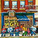 MONTREAL BAGEL SHOP ON ST. VIATEUR STREET CANADIAN PAINTINGS HOCKEY ART SCENES by Carole  Spandau