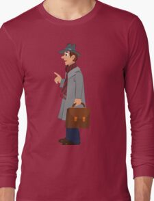 Cartoon man in gray hat coat and briefcase Long Sleeve T-Shirt