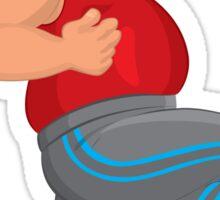 Cartoon fat man in gray running pants runs with smile Sticker