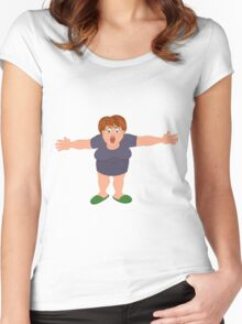 Cartoon fat woman with open hands Women's Fitted Scoop T-Shirt