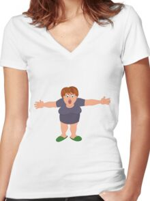 Cartoon fat woman with open hands Women's Fitted V-Neck T-Shirt