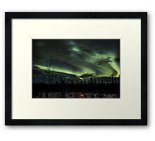 Northern Lights & Campfire Framed Print