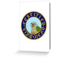 Certified Bird Nerd (green cheek cinnamon) Greeting Card