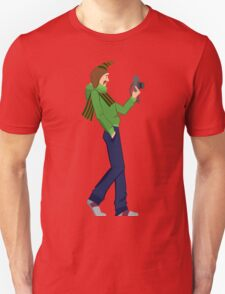 Cartoon man with photo camera walking T-Shirt