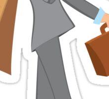 Cartoon man with brown briefcase walking Sticker