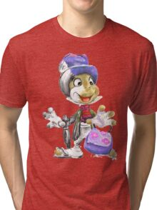 Charcoal and Oil - Jiminy Cricket Tri-blend T-Shirt