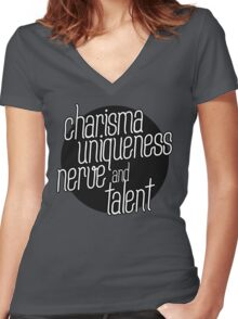 charisma, uniqueness etc Women's Fitted V-Neck T-Shirt