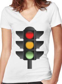 Traffic Lights Women's Fitted V-Neck T-Shirt