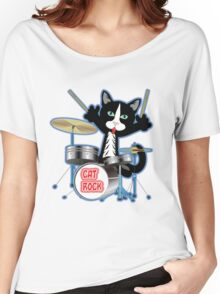 Cat Rock Drums No Background Women's Relaxed Fit T-Shirt