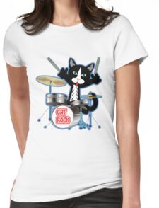 Cat Rock Drums No Background Womens Fitted T-Shirt