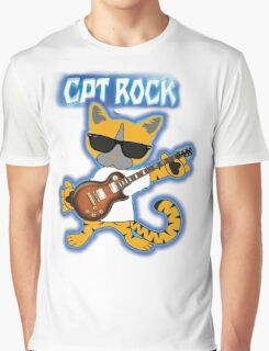 Cat Rock Guitar Clear Background Graphic T-Shirt