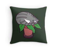 Potted Cat Plant Throw Pillow