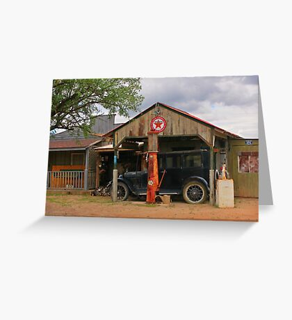 Old Gas Station and Antique Car Greeting Card
