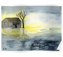 Sunrise at the lake - Watercolor Painting Poster