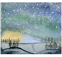 Northern Lights - Watercolor Painting Photographic Print