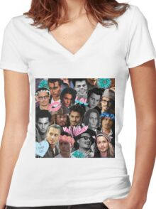 Johnny Depp Collage Women's Fitted V-Neck T-Shirt