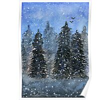 Winter Trees - Watercolor Painting Poster
