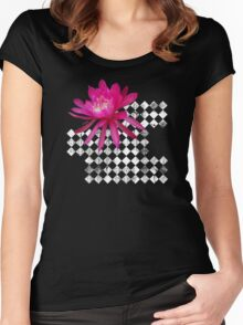 Hot Pink Tropical Flower Women's Fitted Scoop T-Shirt