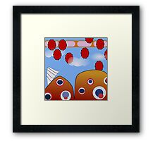 Red, Blue, Orange  Cartoon Hill and Sky Framed Print