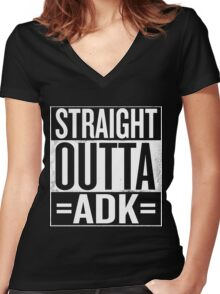 Straight Outta =ADK= Women's Fitted V-Neck T-Shirt