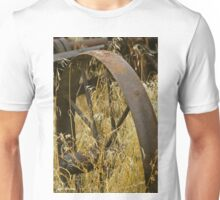 Rusty Old Wheel and Yellow Grasses Unisex T-Shirt