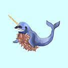 Blue bearded happy narwhal by jazzydevil