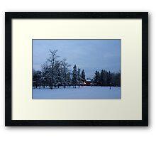 Snow, Stillness and Warm House Lights Framed Print