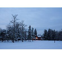 Snow, Stillness and Warm House Lights Photographic Print