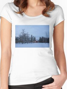 Snow, Stillness and Warm House Lights Women's Fitted Scoop T-Shirt