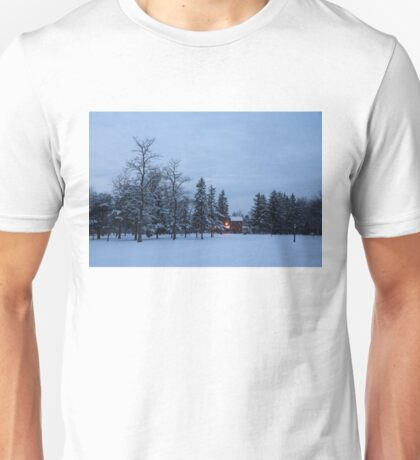 Snow, Stillness and Warm House Lights Unisex T-Shirt