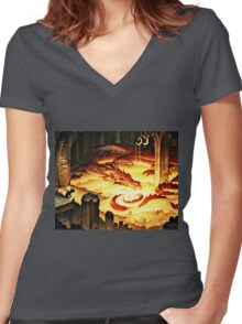 The Hoard of Smaug in Erebor Women's Fitted V-Neck T-Shirt