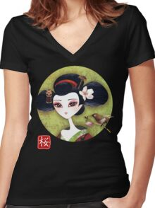 Sakura Girl Reloaded Women's Fitted V-Neck T-Shirt