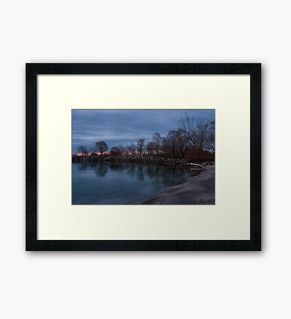 Calm, Pink Morning - Lake Ontario in Toronto Framed Print